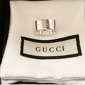 Gucci Trademark Stripe Ring Size 5